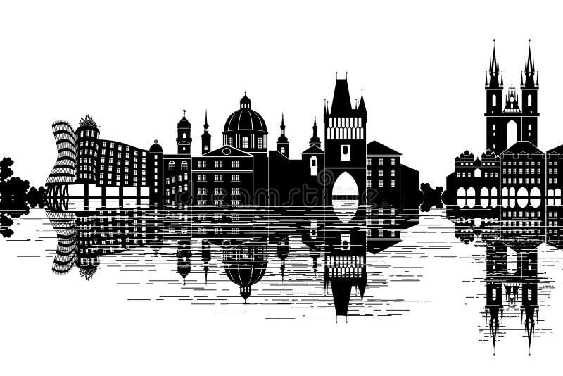 Skyline de Praga ilustração royalty free