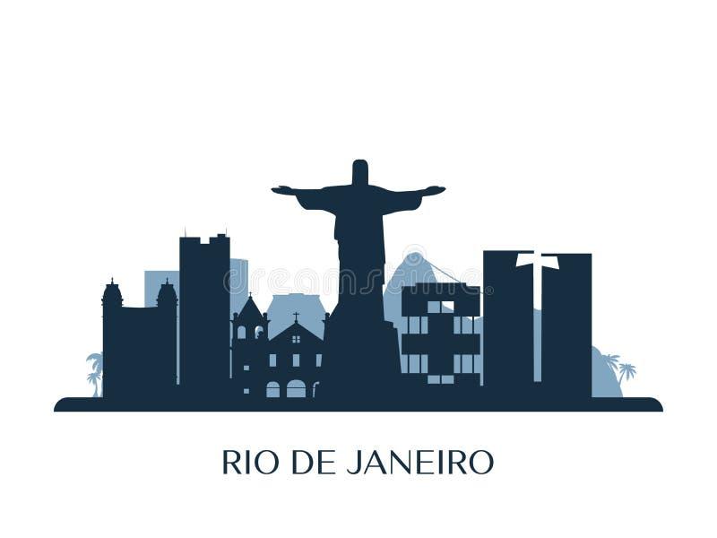 Skyline de Rio de janeiro, silhueta monocromática ilustração stock