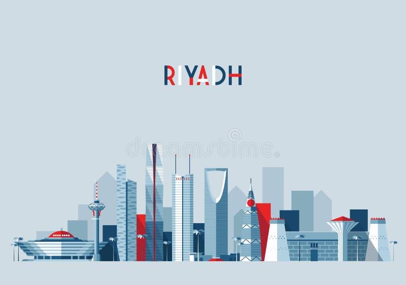 Skyline de Riyadh, ilustração do vetor, projeto liso ilustração stock