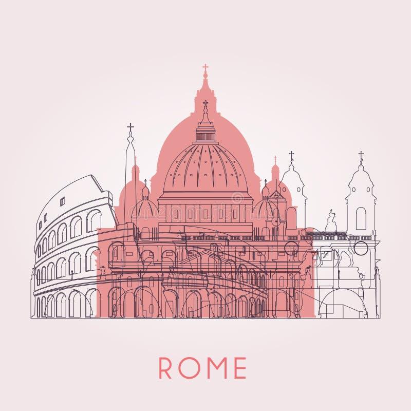 Skyline de Roma do esboço ilustração stock