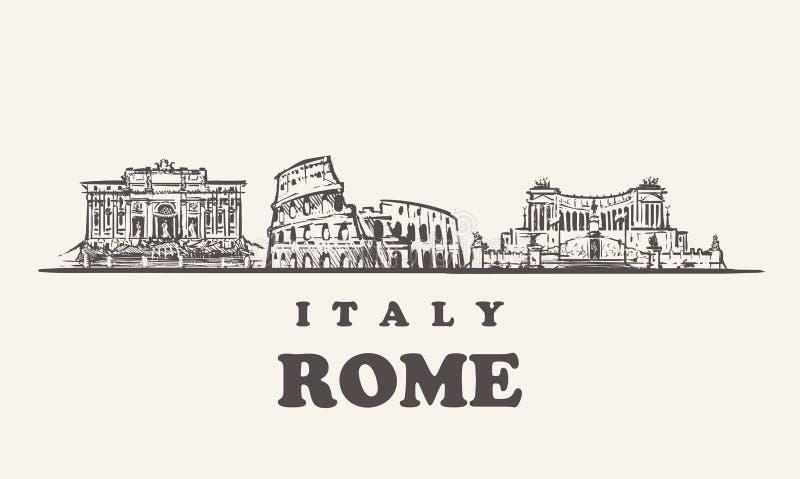 Skyline de Roma, ilustração do vetor do vintage de Itália, construções tiradas mão ilustração do vetor