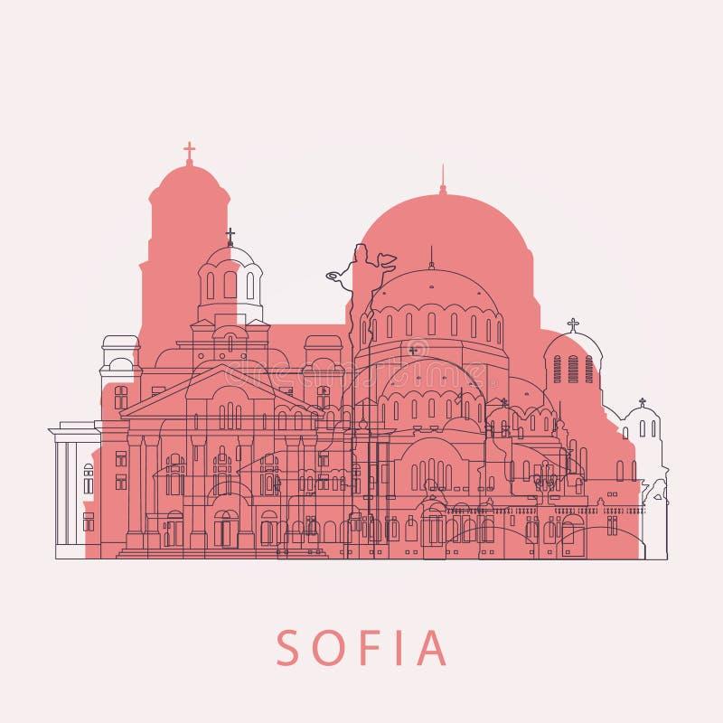 Skyline de Sófia do esboço com marcos ilustração do vetor