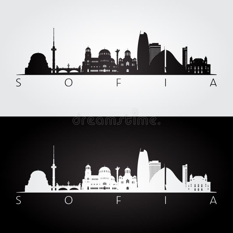 Skyline de Sófia e silhueta dos marcos ilustração stock