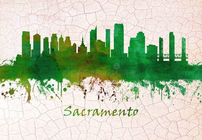Skyline de Sacramento Calif?rnia ilustração royalty free