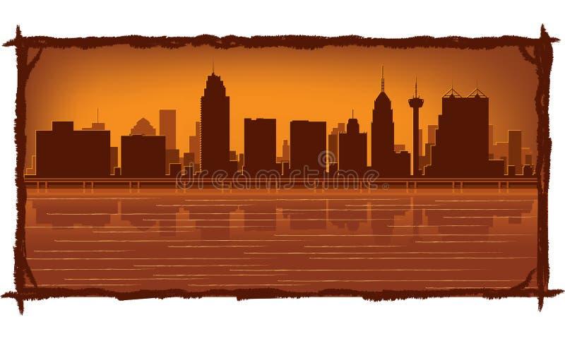 Skyline de San Antonio ilustração stock