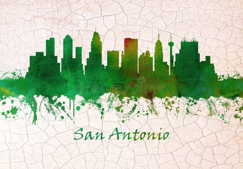 Skyline de San Antonio Texas ilustração do vetor