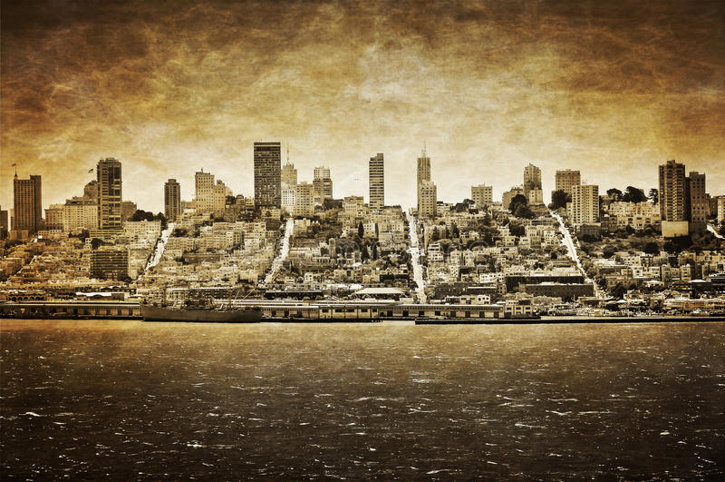Skyline de San Francisco do vintage imagem de stock