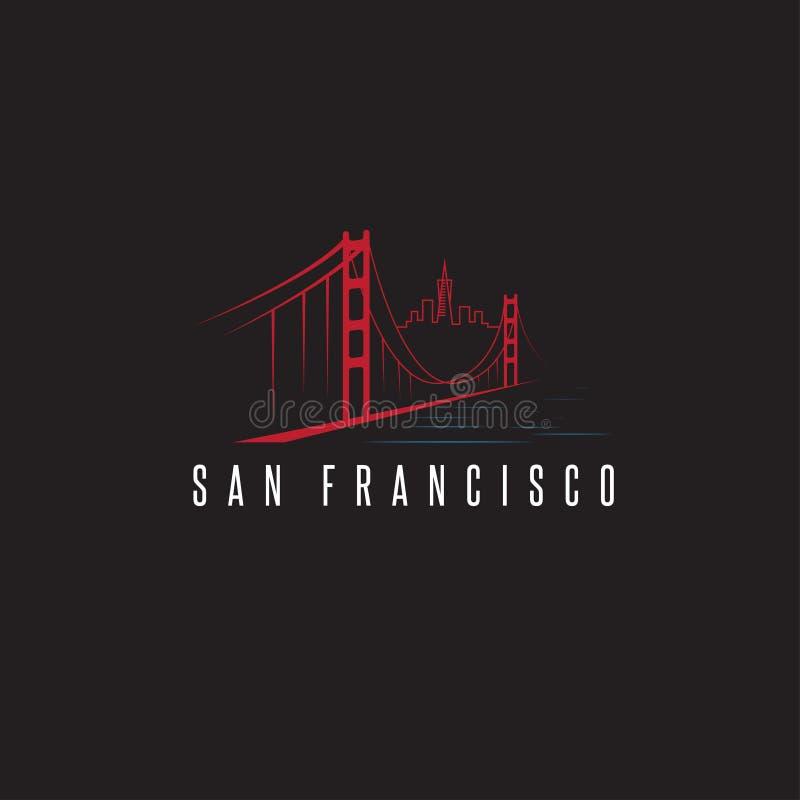 Skyline de San Francisco e projeto do vetor de golden gate bridge ilustração royalty free