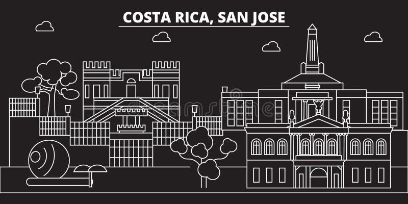 Skyline de San Jose Cidade do vetor de Costa Rica - de San Jose, arquitetura linear rican da costela, construções Curso de San Jo ilustração royalty free