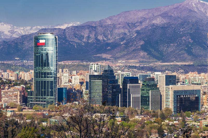 Skyline de Santiago do Chile fotos de stock royalty free