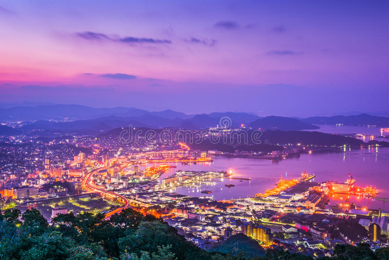 Skyline de Sasebo Japão fotografia de stock royalty free