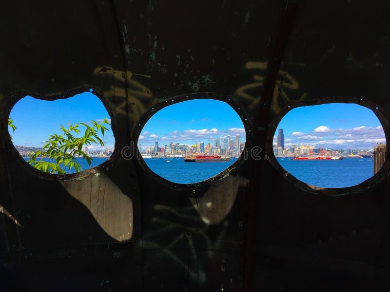 Skyline de Seattle da opinião da vigia foto de stock royalty free
