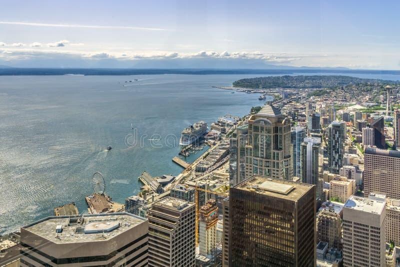 Skyline de Seattle Vista aérea de Seattle fotos de stock royalty free