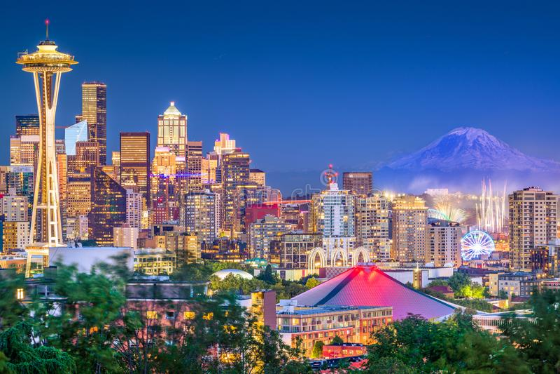 Skyline de Seattle, Washington, EUA foto de stock royalty free