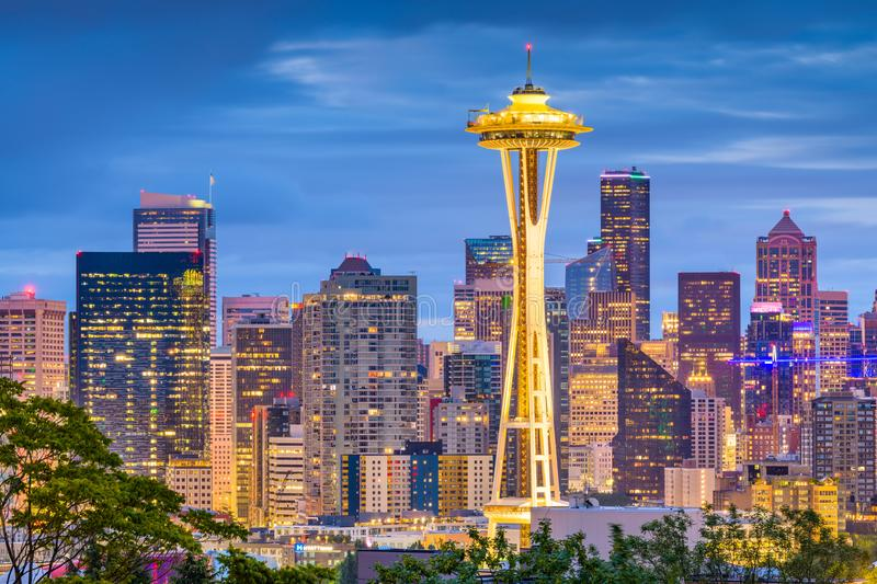 Skyline de Seattle, Washington, EUA foto de stock