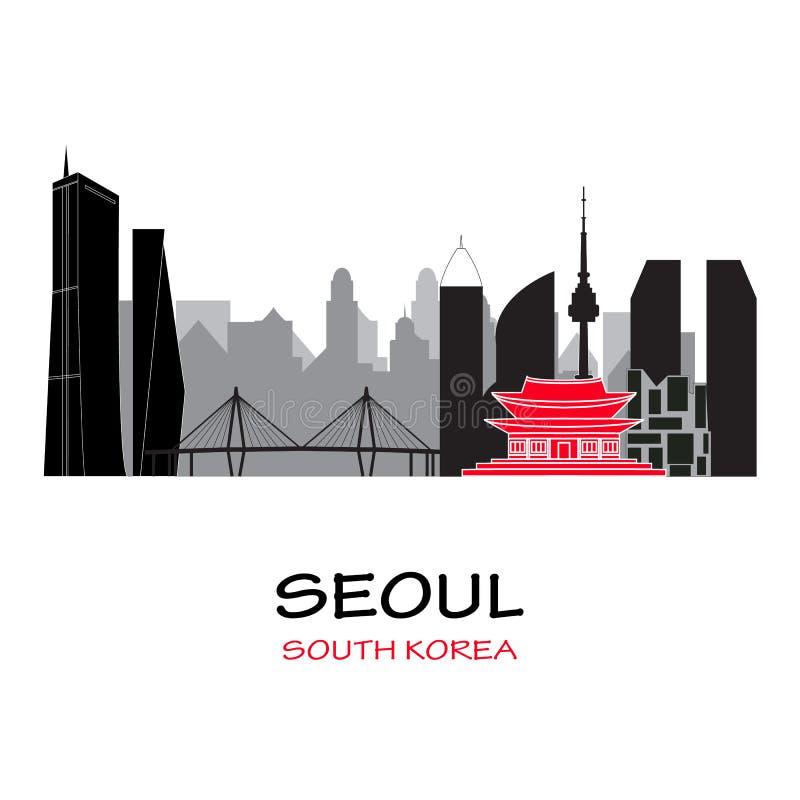 Skyline de Seoul Coreia do Sul ilustração stock