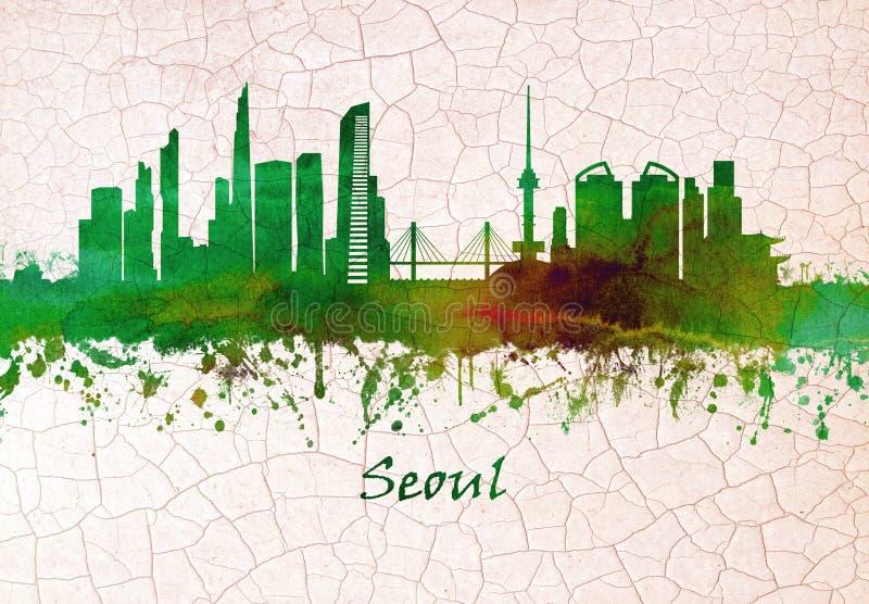 Skyline de Seoul Coreia do Sul ilustração royalty free