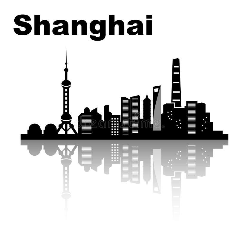 Skyline de Shanghai ilustração stock