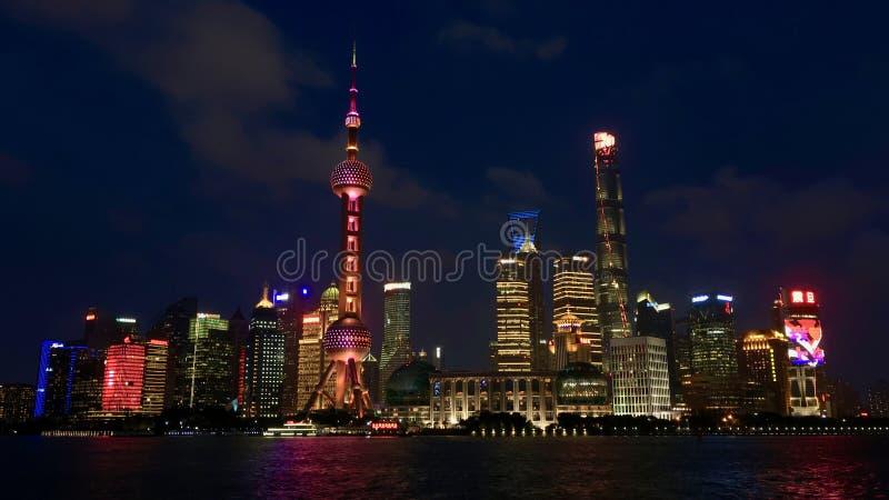 Skyline de Shanghai Pudong na noite imagens de stock royalty free