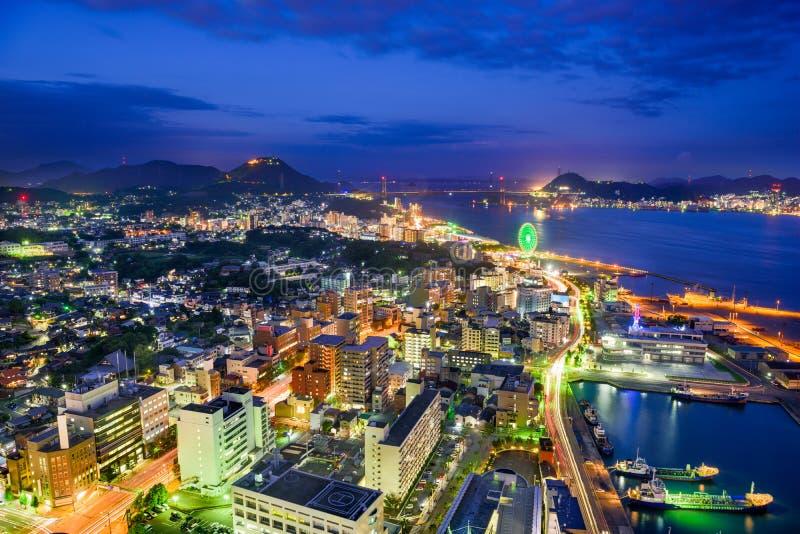Skyline de Shimonoseki, Japão imagens de stock royalty free