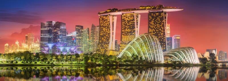 Skyline de Singapura e opinião Marina Bay foto de stock royalty free