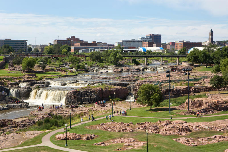 Skyline de Sioux Falls Park South Dakota fotos de stock