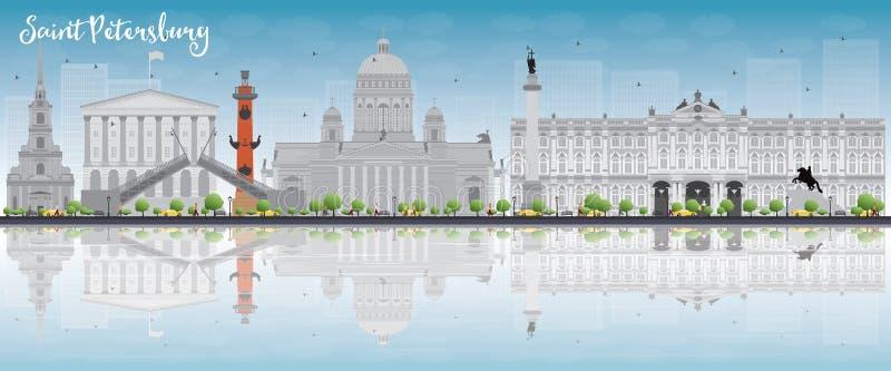 Skyline de St Petersburg com marcos cinzentos, o céu azul e a cópia ilustração do vetor