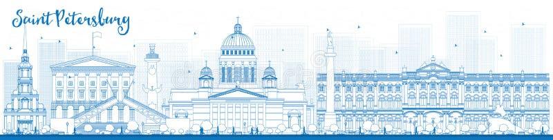 Skyline de St Petersburg do esboço com marcos azuis ilustração royalty free