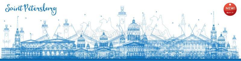 Skyline de St Petersburg do esboço com marcos azuis ilustração stock