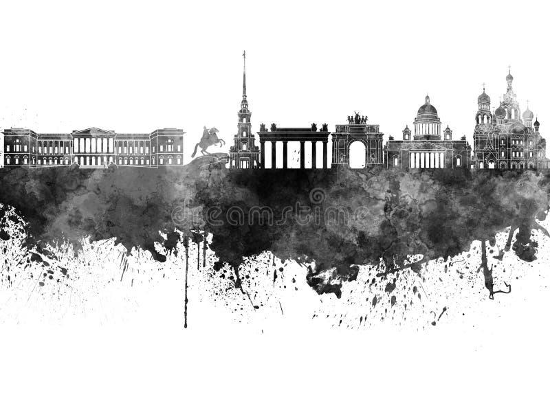 Skyline de St Petersburg na aquarela preta ilustração do vetor