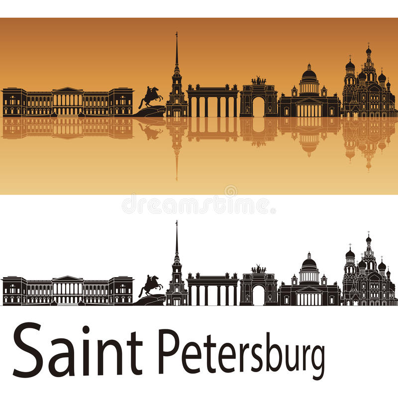 Skyline de St Petersburg no fundo alaranjado ilustração stock