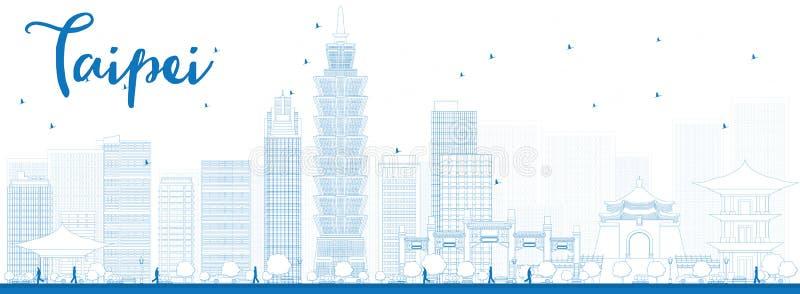 Skyline de Taipei do esboço com marcos azuis ilustração stock