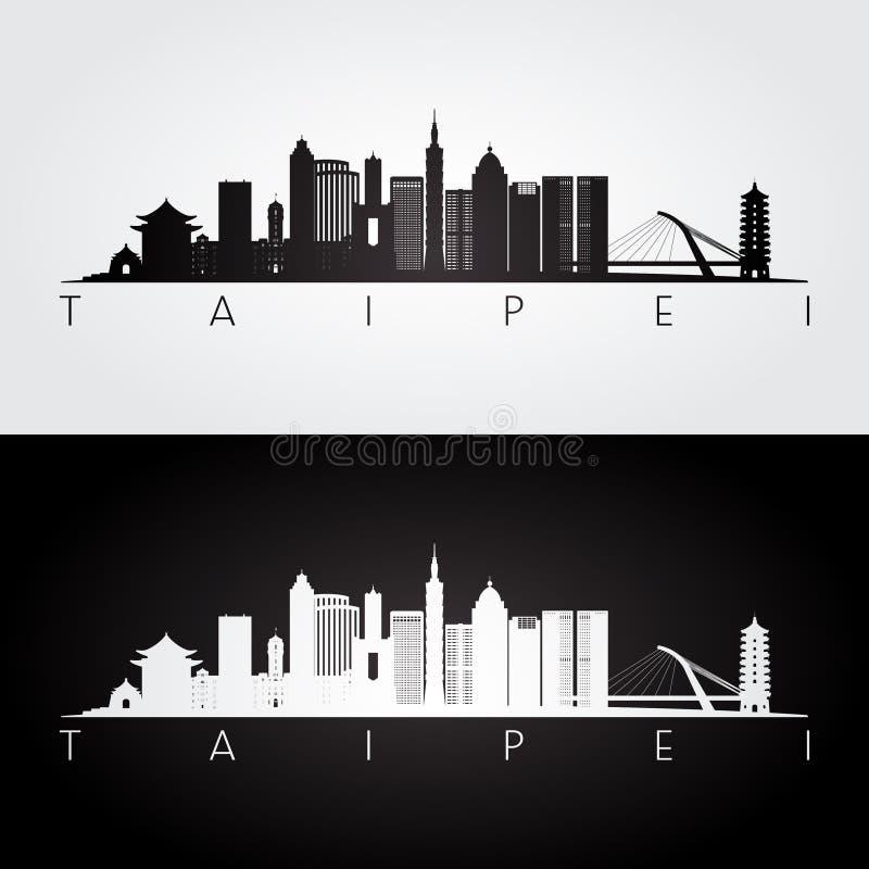 Skyline de Taipei e silhueta dos marcos ilustração do vetor