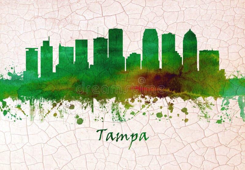 Skyline de Tampa Florida ilustração royalty free