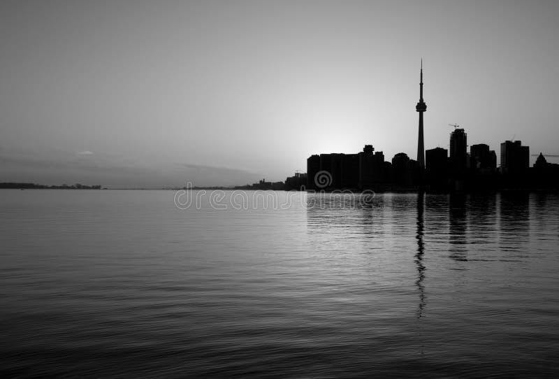 Skyline de Toronto em preto e branco fotos de stock royalty free