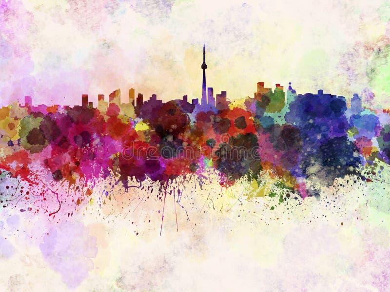 Skyline de Toronto no fundo da aquarela