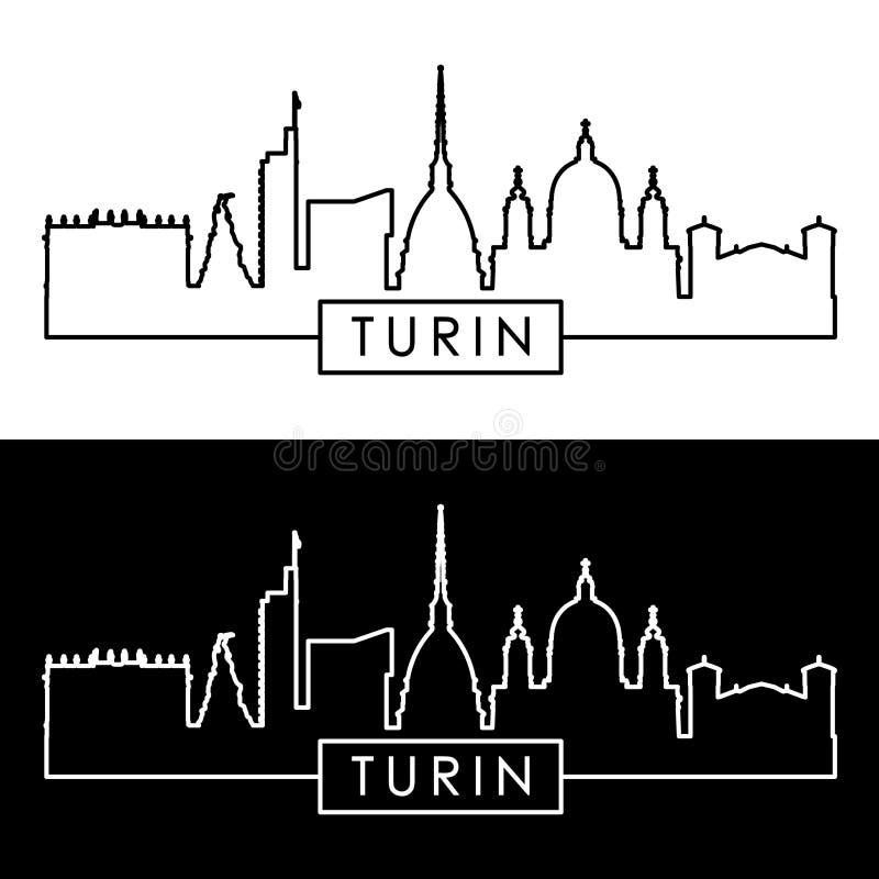 Skyline de Turin estilo linear ilustração do vetor