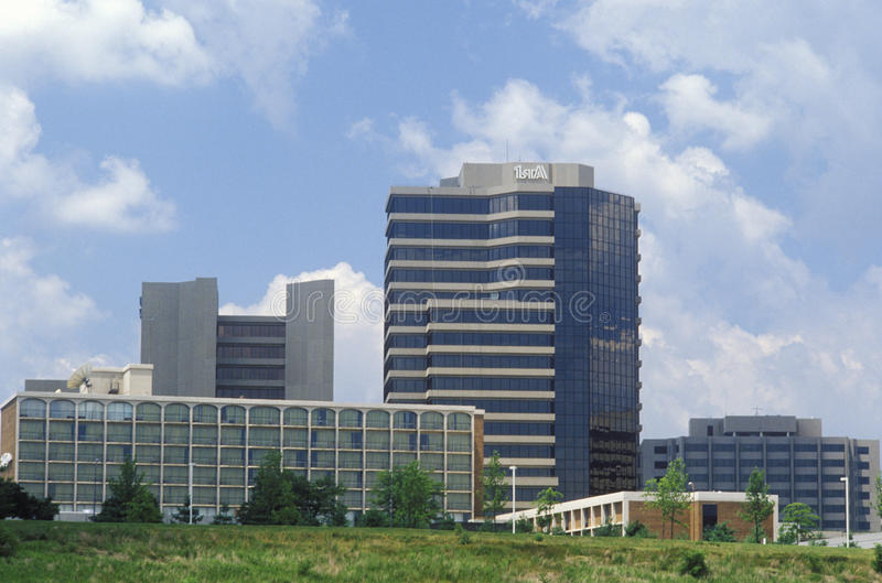 Skyline de Tyson Corner em Falls Church, Fairfax County, VA fotografia de stock royalty free