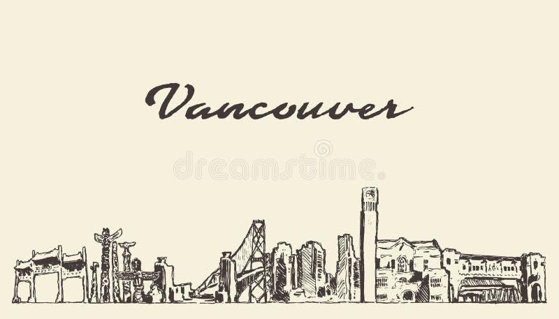 Skyline de Vancôver, esboço tirado cidade do vetor de Canadá ilustração royalty free