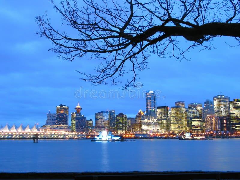 Skyline de Vancôver na noite fotografia de stock royalty free