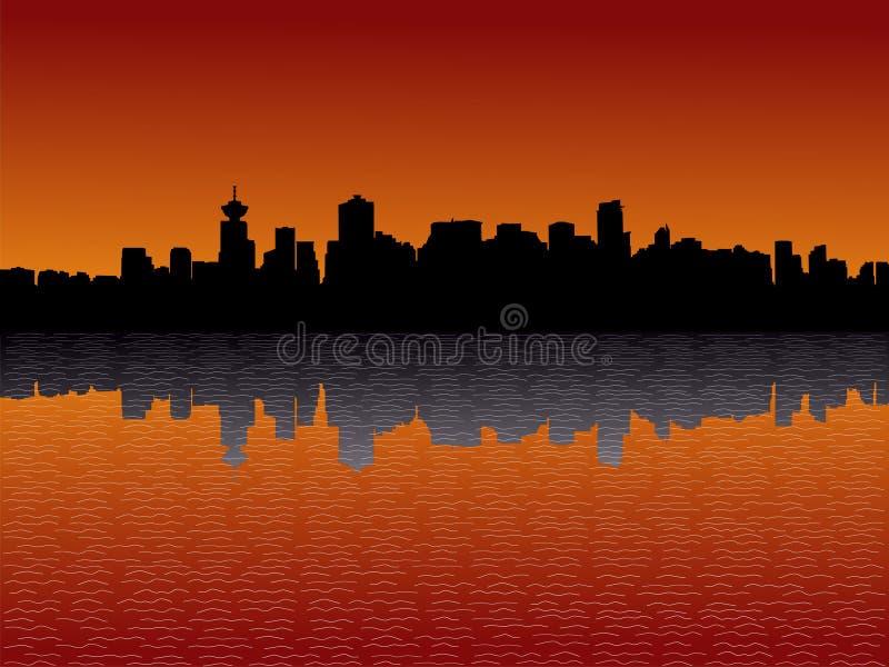 Skyline de Vancôver no por do sol ilustração stock