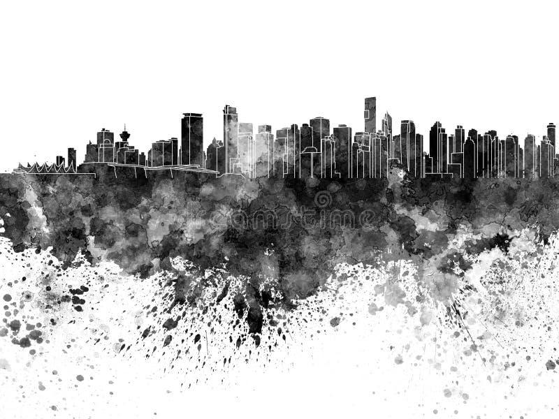 Skyline de Vancôver na aquarela preta no branco ilustração do vetor