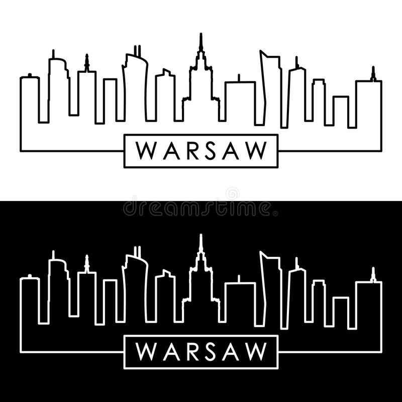 Skyline de Varsóvia estilo linear Molde do projeto ilustração royalty free