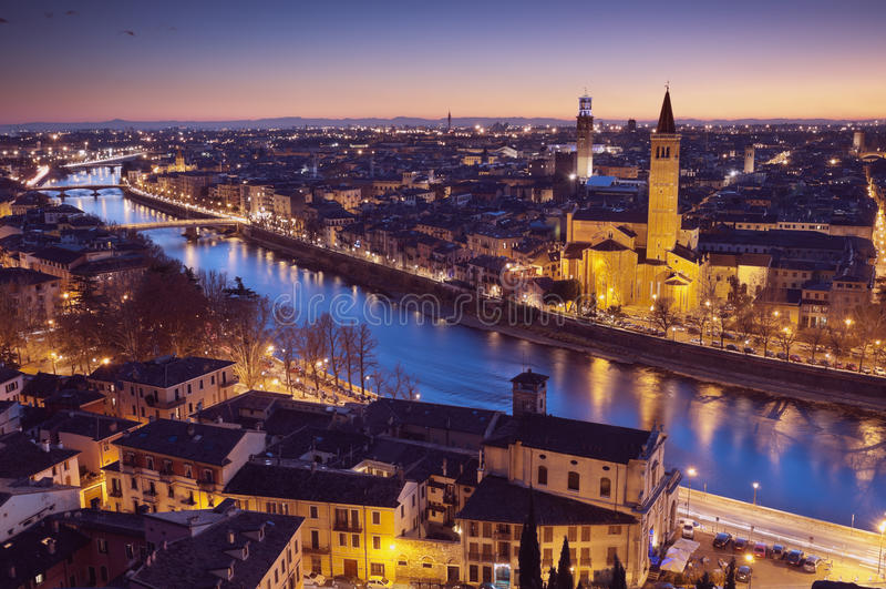 Skyline de Verona, Italy fotografia de stock royalty free