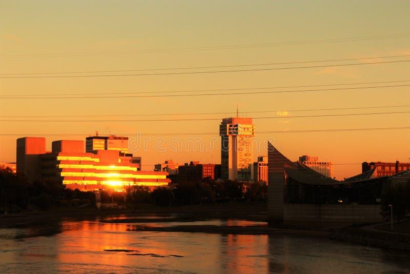 Skyline de Wichita, Kansas fotografia de stock
