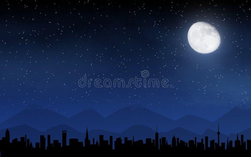 Skyline and deep night sky vector illustration