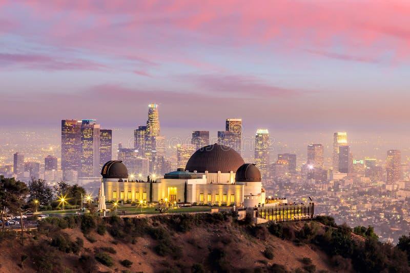 Skyline der Griffith Observatory- und Los Angeles-Stadt stockfoto