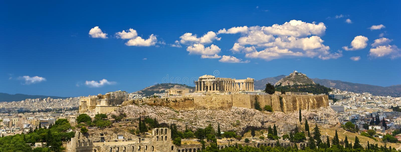Skyline der Stadt von Athen lizenzfreies stockbild