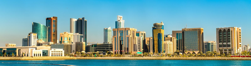 Skyline des Manama-Zentralgeschäftsgebiets Das Königreich von Bahrain lizenzfreie stockfotos