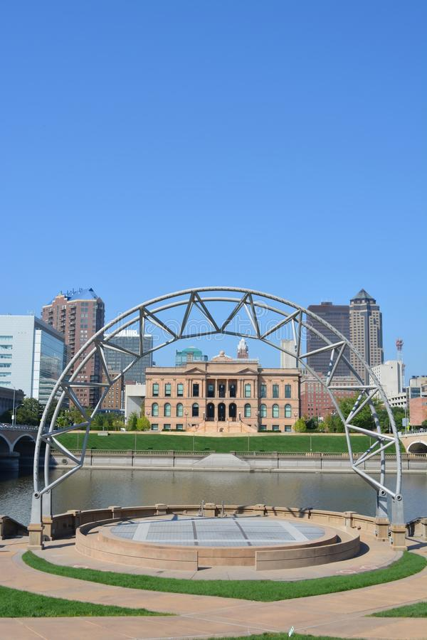 Skyline of Des Moines Iowa from Amphitheater. View of the Des Moines skyline from a public amphitheater stock photos
